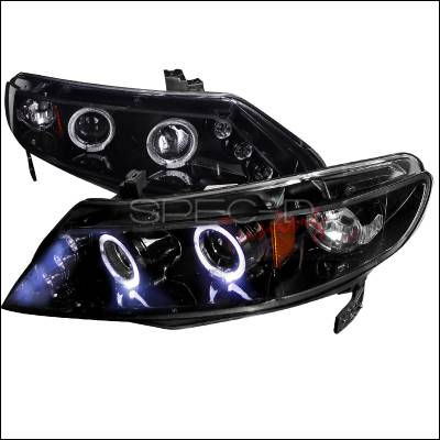 Spec-D - Honda Civic Spec-D Black Housing Projector Headlights - Smoked Lens Gloss - 2LHP-CV064G-TM