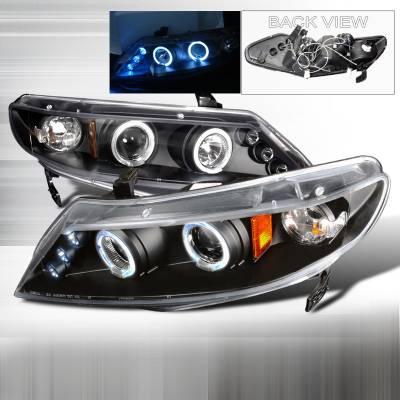 Spec-D - Honda Civic Spec-D Halo LED Projector Headlights - Black - 2LHP-CV064JM-TM