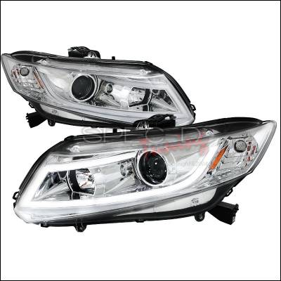 Spec-D - Honda Civic Spec-D R8 Style LED Projector Headlight - Chrome - 2LHP-CV12-8V2-TM