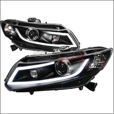 Spec-D - Honda Civic Spec-D R8 Style LED Projector Headlight - Black - 2LHP-CV12JM-8V2-TM