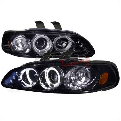 Spec-D - Honda Civic Spec-D Black Housing Projector Headlights - Smoked Lens Gloss - 2LHP-CV923G-TM