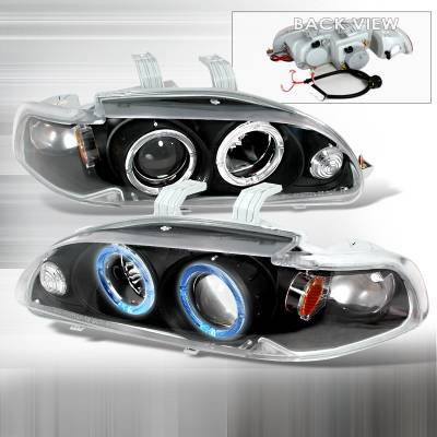 Spec-D - Honda Civic Spec-D Halo Projector Headlights - Black - 2LHP-CV923JM-KS