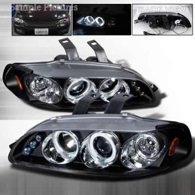 Spec-D - Honda Civic Spec-D Halo LED Projector Headlights - Black - 2LHP-CV923JM-TM