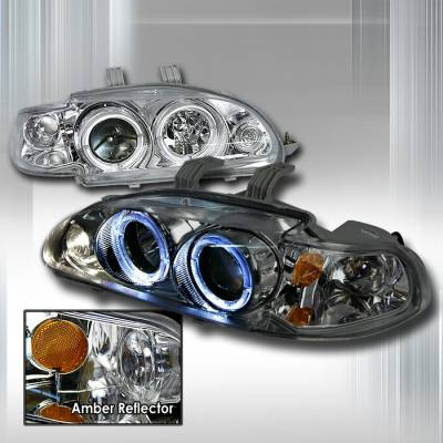 Spec-D - Honda Civic Spec-D Halo Projector Headlights - Chrome - 2LHP-CV92-KS