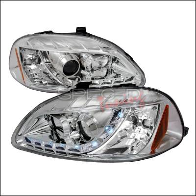 Spec-D - Honda Civic Spec-D R8 Style Halo LED Projector - Chrome - 2LHP-CV96-8-TM