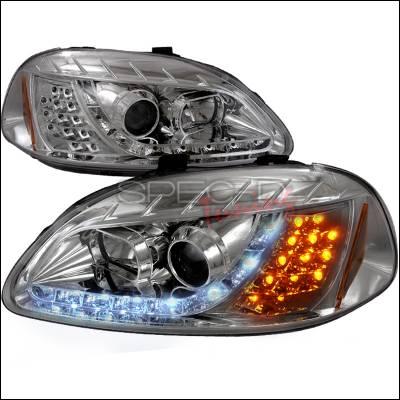 Spec-D - Honda Civic Spec-D R8 Style Halo LED Projector with LED Signal - Chrome - 2LHP-CV96-8V2-TM