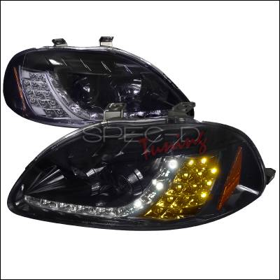 Spec-D - Honda Civic Spec-D R8 Style Smoked Lens Gloss - Black Amber LED Signal Projector Headlights - 2LHP-CV96G-8V2-TM