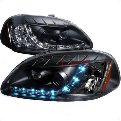 Spec-D - Honda Civic Spec-D R8 Style Halo LED Projector - Black - 2LHP-CV96JM-8-TM