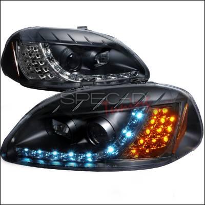 Spec-D - Honda Civic Spec-D R8 Style Halo LED Projector with LED Signal - Black - 2LHP-CV96JM-8V2-TM