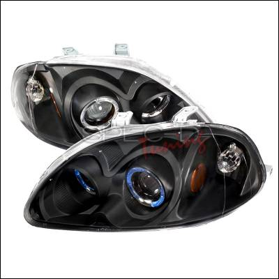 Spec-D - Honda Civic Spec-D Halo Projector Headlights - Black - 2LHP-CV96JM-KS