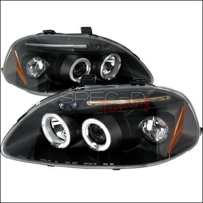Spec-D - Honda Civic Spec-D Halo LED Projector Headlights - Black - 2LHP-CV96JM-TM