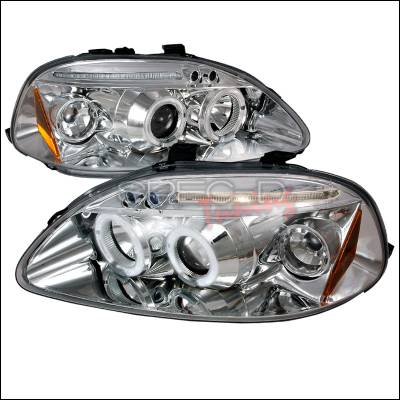 Spec-D - Honda Civic Spec-D Halo LED Projector Headlights - Chrome - 2LHP-CV96-TM