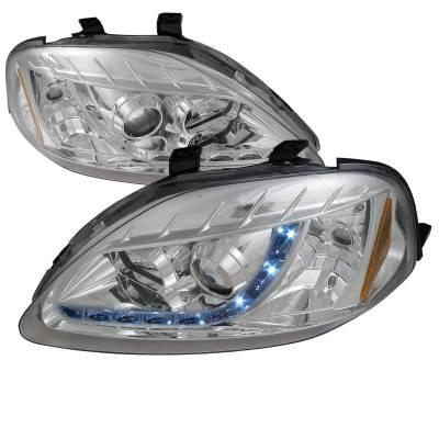Spec-D - Honda Civic Spec-D R8 Style Projector Headlights - 2LHP-CV99-8-TM