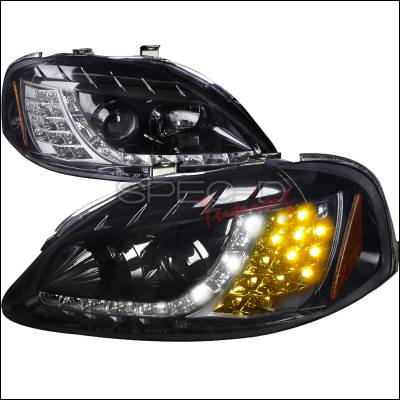 Spec-D - Honda Civic Spec-D R8 Style Smoked Lens Gloss - Black Amber LED Signal Projector Headlights - 2LHP-CV99G-8V2-TM