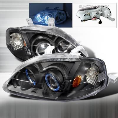 Spec-D - Honda Civic Spec-D Halo Projector Headlights - Black - 2LHP-CV99JM-KS
