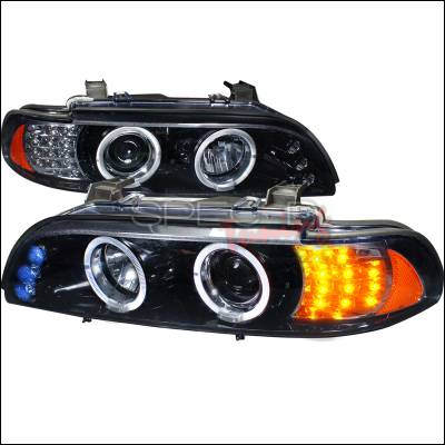 Spec-D - BMW 5 Series Spec-D Halo Projector Headlight Gloss - Black Housing - Smoke Lens Amber LED Signal Light - 2LHP-E3997G-8V2-TM