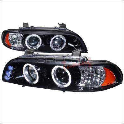 Spec-D - BMW 5 Series Spec-D Halo Projector Headlight Gloss - Black Housing - Smoke Lens - 2LHP-E3997G-TM