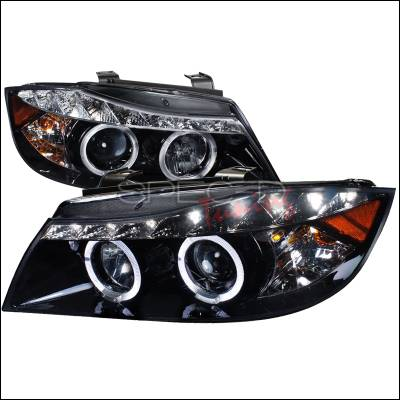 Spec-D - BMW 3 Series 4DR Spec-D R8 Style Projector Headlight Gloss - Black Housing - Smoke Lens - 2LHP-E9005G-8-TM