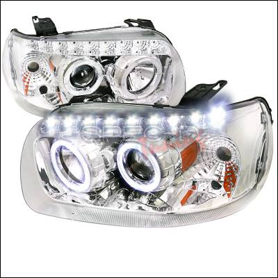 Spec-D - Ford Escape Spec-D Projector Headlights - Chrome with Amber Reflector - 2LHP-ECAP05-RS