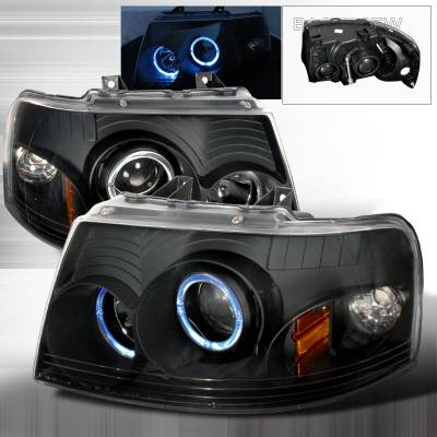 Spec-D - Ford Expedition Spec-D Halo Projector Headlights - Black - 2LHP-EPED03JM-KS