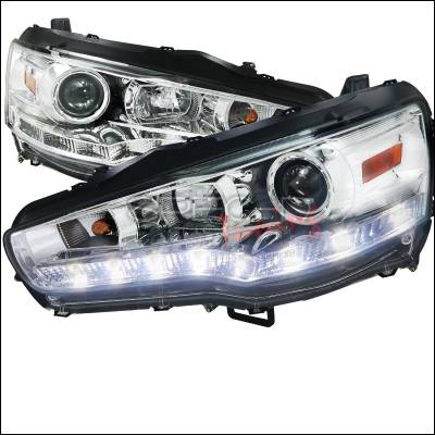 Spec-D - Mitsubishi Lancer Spec-D R8 Style Headlights - Chrome Housing - 2LHP-EVO08-8-TM