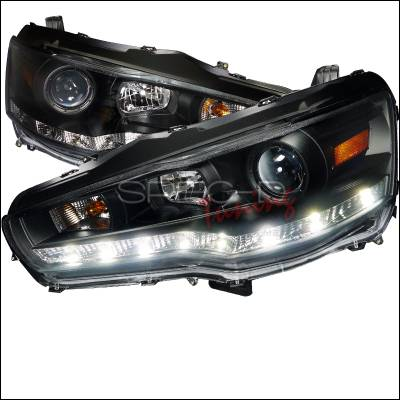 Spec-D - Mitsubishi Lancer Spec-D R8 Style Projector Headlights - Black Housing - 2LHP-EVO08JM-8-TM