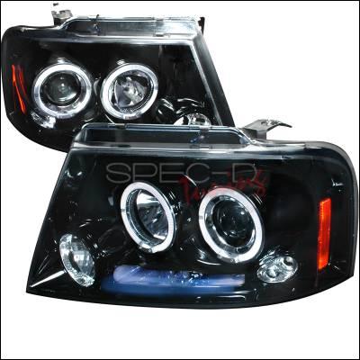 Spec-D - Ford F150 Spec-D Halo Projector Headlight Gloss - Black Housing - Smoke Lens - 2LHP-F15004G-TM