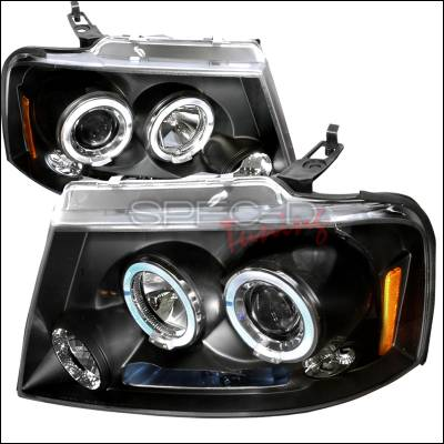Spec-D - Ford F150 Spec-D Halo LED Projector Headlights - Black - 2LHP-F15004JM-TM
