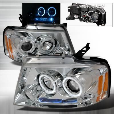 Spec-D - Ford F150 Spec-D Halo LED Projector Headlights - Chrome - 2LHP-F15004-TM