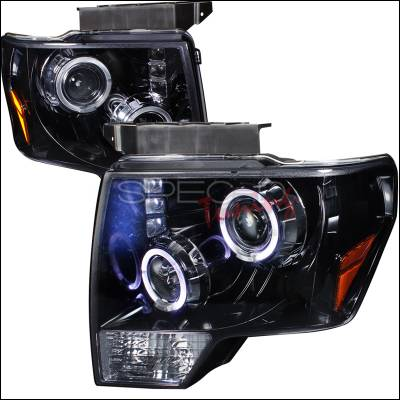 Spec-D - Ford F150 Spec-D Halo Projector Headlight Gloss - Black Housing - Smoke Lens - 2LHP-F15009G-TM
