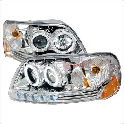 Spec-D - Ford Expedition Spec-D Halo Projector Headlights - Chrome - 2LHP-F150971PC-KS