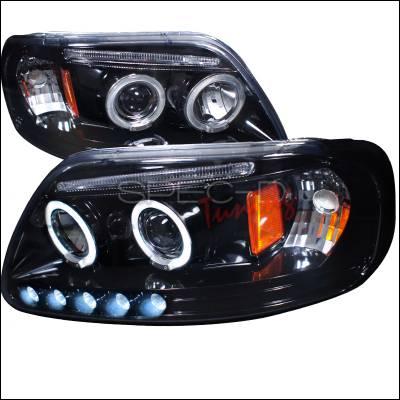 Spec-D - Ford F150 Spec-D Halo Projector Headlight Gloss - Black Housing - Smoke Lens - 2LHP-F15097G-TM