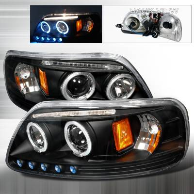 Spec-D - Ford Expedition Spec-D Halo LED Projector Headlights - Black - 2LHP-F15097JM-TM