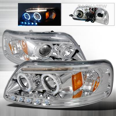 Spec-D - Ford F150 Spec-D Halo LED Projector Headlights - Chrome - 2LHP-F15097-TM