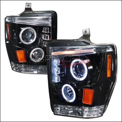 Spec-D - Ford F250 Spec-D Halo Projector Headlight Gloss - Black Housing - Smoke Lens - 2LHP-F25008G-TM