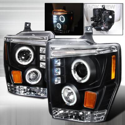 Spec-D - Ford F250 Spec-D Halo LED Projector Headlights - Black - 2LHP-F25008JM-TM