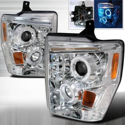 Spec-D - Ford F250 Spec-D R8 Style Halo LED Projector - Chrome - 2LHP-F25008-TM