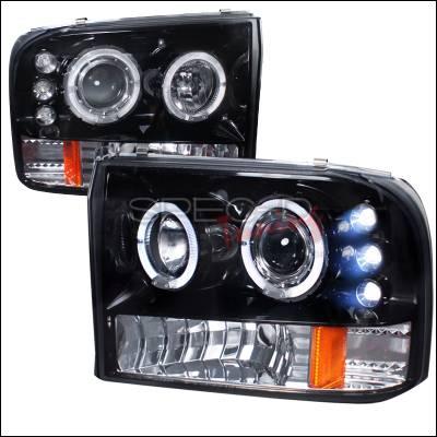 Spec-D - Ford F250 Spec-D Halo Projector Headlight Gloss - Black Housing - Smoke Lens - 2LHP-F25099G-TM