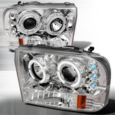 Spec-D - Ford F250 Spec-D Halo LED Projector Headlights - Chrome - 2LHP-F25099-TM