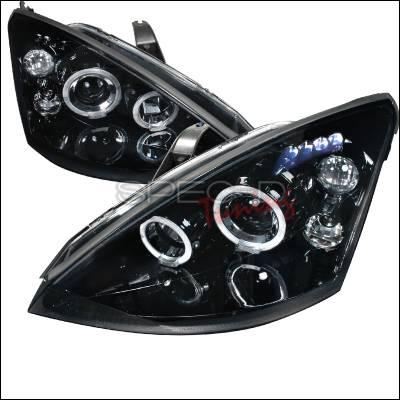 Spec-D - Ford Focus Spec-D Halo Projector Headlight Gloss - Black Housing - Smoke Lens - 2LHP-FOC00G-TM