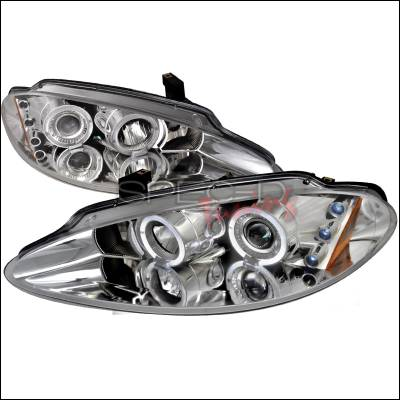 Spec-D - Dodge Intrepid Spec-D R8 Style Halo LED Projector - Chrome - 2LHP-ITRE98-TM