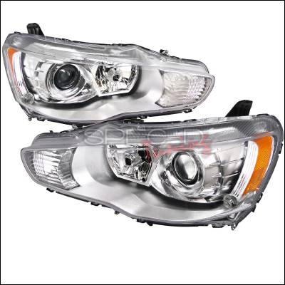 Spec-D - Mitsubishi Lancer Spec-D Projector Headlights - Chrome Housing - 2LHP-LAN08-DP
