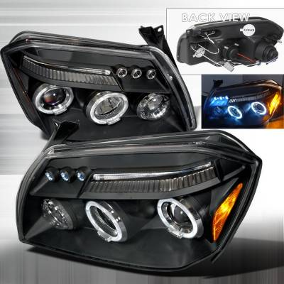 Spec-D - Dodge Magnum Spec-D Halo LED Projector Headlights - Black - 2LHP-MAG05JM-TM