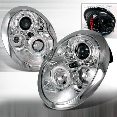 Spec-D - Mini Cooper Spec-D Halo LED Projector Headlights - Chrome - 2LHP-MINI01-TM