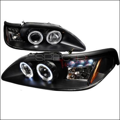 Spec-D - Ford Mustang Spec-D Halo LED Projector Headlights - Black - 2LHP-MST94JM-TM