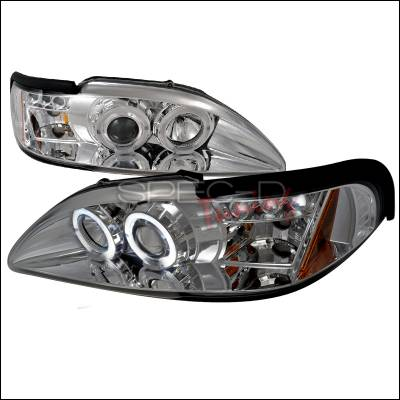 Spec-D - Ford Mustang Spec-D Halo LED Projector Headlights - Chrome - 2LHP-MST94-TM