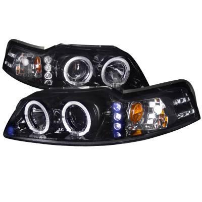 Spec-D - Ford Mustang Spec-D Black Housing Projector Headlights - Smoked Lens Gloss - 2LHP-MST99G-TM