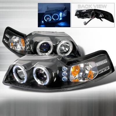 Spec-D - Ford Mustang Spec-D Halo LED Projector Headlights - Black - 2LHP-MST99JM-TM