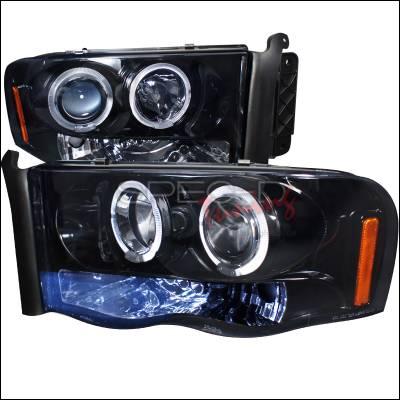 Spec-D - Dodge Ram Spec-D Halo Projector Headlight Gloss - Black Housing - Smoke Lens - 2LHP-RAM02G-TM