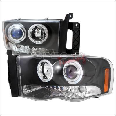 Spec-D - Dodge Ram Spec-D Halo LED Projector Headlights - Black - 2LHP-RAM02JM-TM